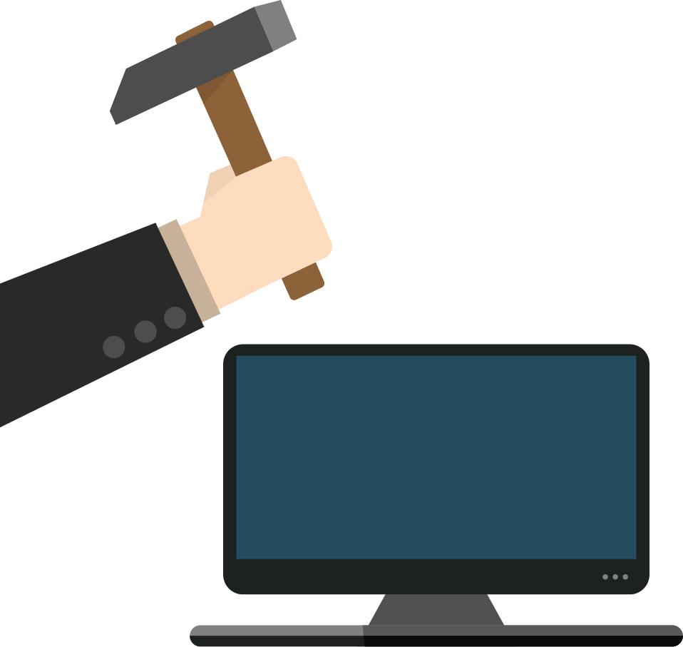 hitting computer